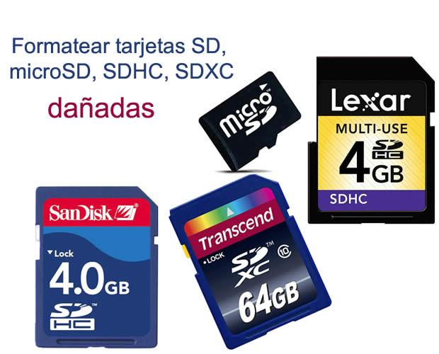Cómo formatear tarjetas de memoria SD, SDHC y SDXC dañadas