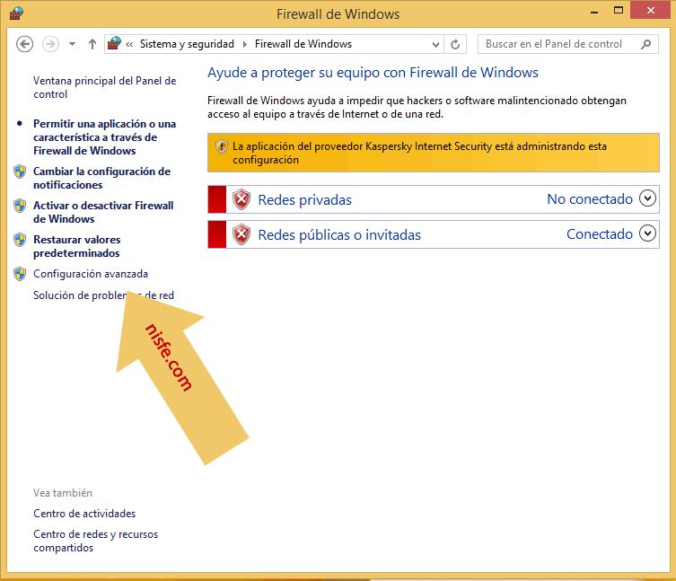 seleccionar configuración avanzada en el firewall