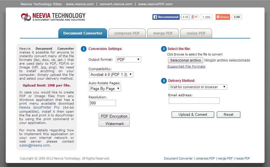 convertir-a-pdf-online-Neevia-convert-Document