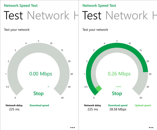 Como medir la velocidad de Internet en Windows Phone con Network Speed Test