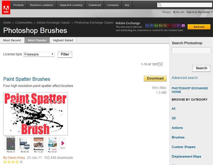 Principales sitios para descargar nuevos pinceles para Photoshop