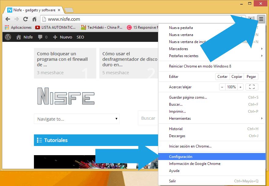 clic en la imagen que aparece en la parte superior derecha del navegador