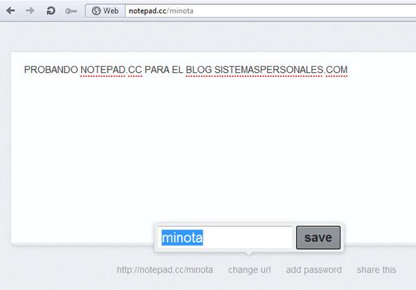 Notepad.cc un bloc de notas online para crear recordatorios y tareas