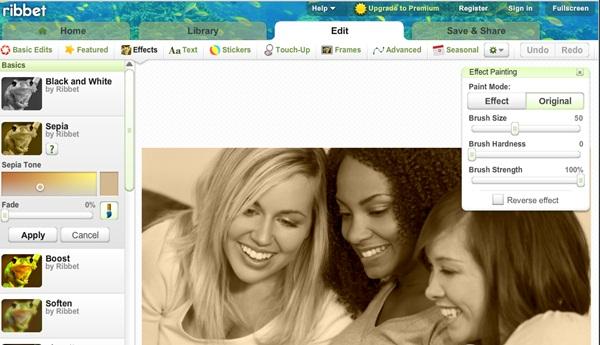 Ribbet! Editor online de fotografías para aplicar efectos a tus imágenes