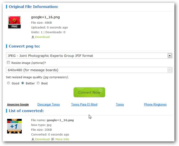 Convertir imágenes en distintos formatos de forma online con Go2convert