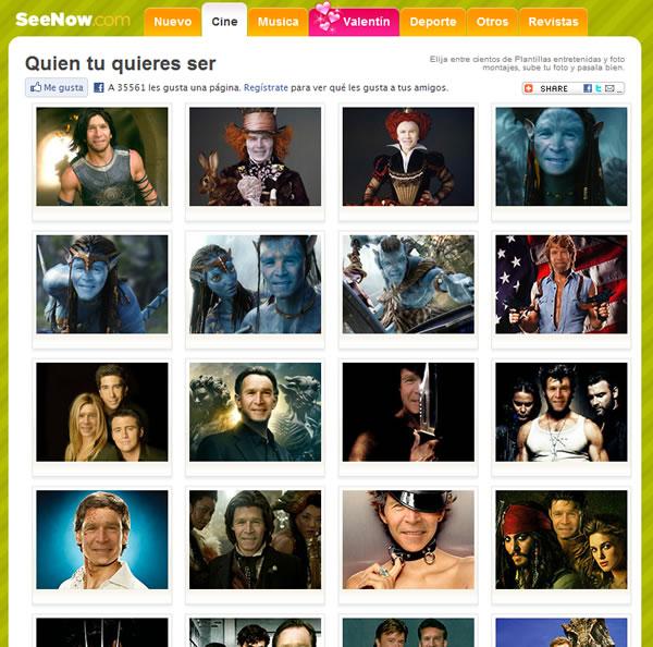 Crear fotomontajes con rostros de famosos de forma online con SeeNow
