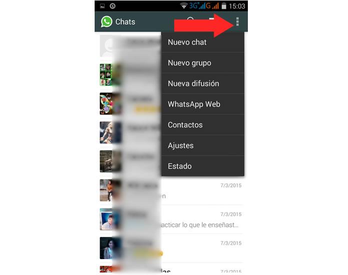 Seleccionar ajustes del whatsapp