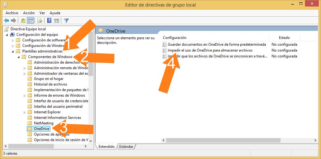 Impedir el uso de Onedrive para almacenar archivos