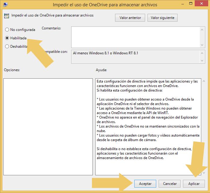 Deshabilitar y quitar onedrive de Windows 8.1